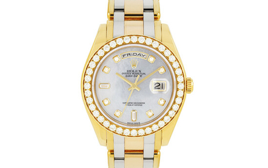 ROLEX, THREE-COLOUR GOLD, DIAMONDS AND MOTHER-OF-PEARL PEARLMASTER, REF. 18948