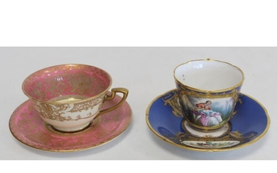 Royal Worcester cabinet cup and saucer with polychrome paint...