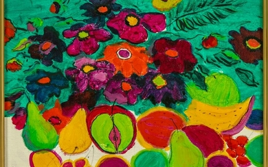 Tropical Fruit & Floral Signed Still Life Painting