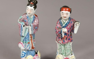 Two Cantonese porcelain figures