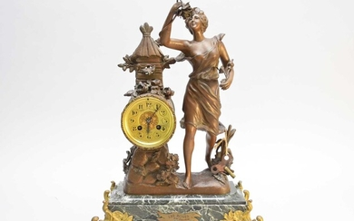 Two French gilt metal and marble figural mantel clocks