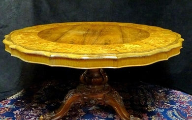 VICTORIAN MARQUETRY INLAID ROSEWOOD BREAKFAST TABLE