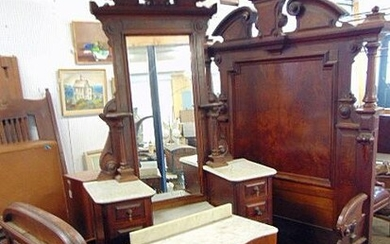 Victorian walnut bedroom suite, ornate bed with rails