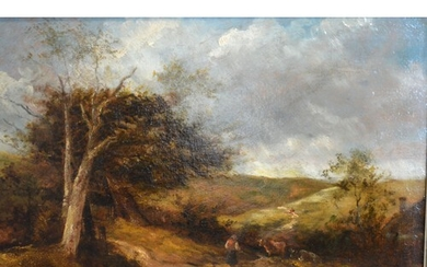 19th Century English School 'Rural Scene with Figure on a Tr...