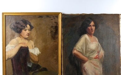 2 early 20th century oils on canvas, portraits of young wome...