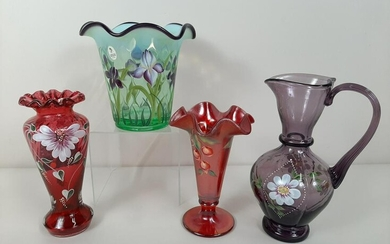 4 Pcs Fenton Glass incl. Designer Showcase Series