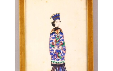 A 19TH CENTURY CHINESE RICE PAPER PAINTING OF A FEMALE FIGUR...
