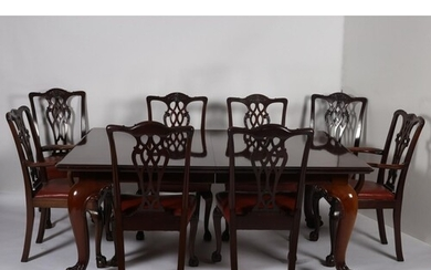 A 19TH CENTURY CHIPPENDALE DESIGN MAHOGANY NINE PIECE DINING...