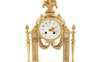 NOT SOLD. A 19th century Louis Philippe gilt bronze and white marble mantel clock. Signed Balthazar, Paris. H. 42 cm. – Bruun Rasmussen Auctioneers of Fine Art