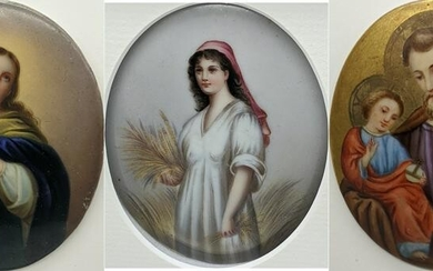 A 19th century painting on porcelain of The Virgin