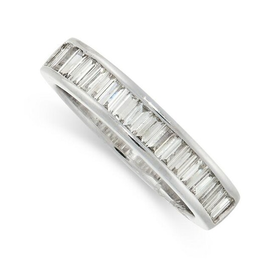 A DIAMOND HALF ETERNITY RING in 18ct white gold, the