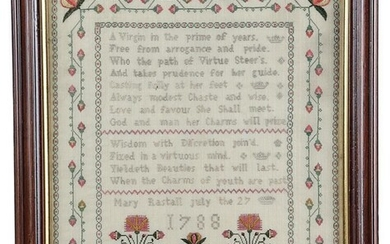 A GEORGE III NEEDLEWORK SAMPLER BY MARY RUSTALL worked with coloured silks on a linen...