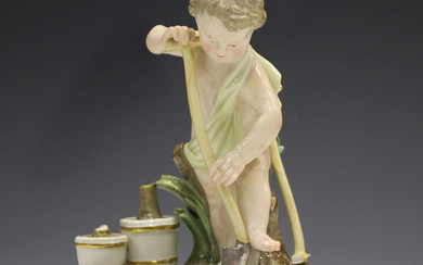 A Meissen figure of a putto gardener, late 19th century, modelled digging with a spade, a rake and p