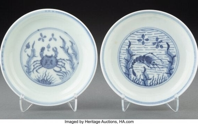 A Pair of Chinese Blue and White Dishes, 18th ce