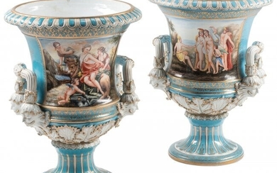A Pair of Large Sèvres-Style Campana Urns 23-1/