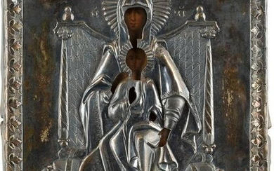 A SMALL ICON SHOWING THE ENTHRONED MOTHER OF GOD WITH A