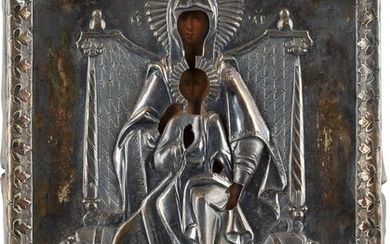 A SMALL ICON SHOWING THE ENTHRONED MOTHER OF GOD...