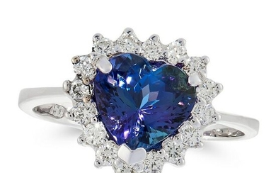 A TANZANITE AND DIAMOND DRESS RING in 18ct white gold