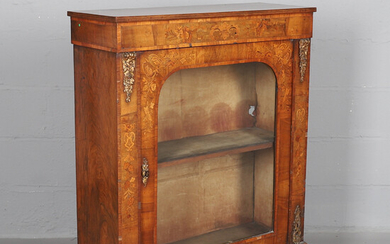 A VICTORIAN INLAID WALNUT AND METAL MOUNTED PIER CABINET.
