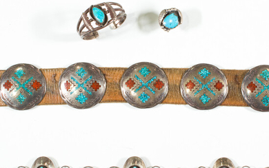 A group of turquoise and silver jewelry, including Native American