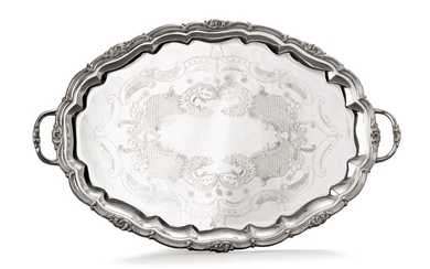 A large Danish silver-plated two-handled oval tray, 20th century