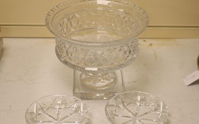 A large and heavy clear cut glass pedestal bowl, 20cm high, ...