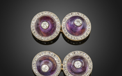 A pair of French amethyst and diamond cufflinks