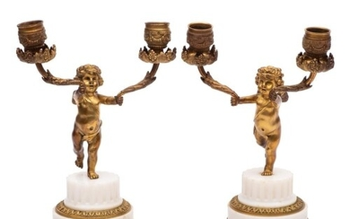 A pair of late 19th century ormolu and white marble figural ...