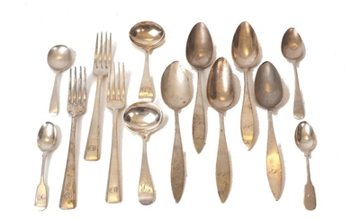 A small group of German and English silver flatware, comprising: two George III silver sauce ladles with engraved 'B' initial to terminals, London, c.1811, possibly George Ferris; a George III silver dessert spoon, London, c.1794, Richard Crossley;...