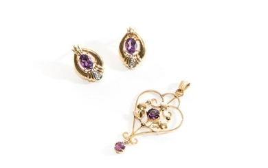 AMETHYST & DIAMOND EARRINGS & PENDANT, 7g