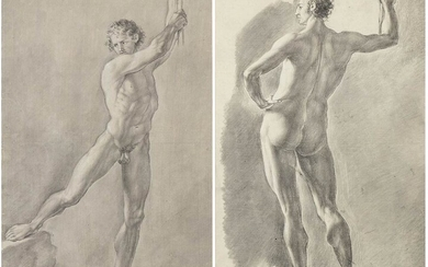ANONYMOUS, 19th CENTURY Couple of academic nude figures Pencil and...