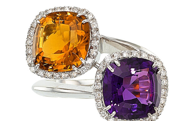 Amethyst, Citrine, Diamond, White Gold Ring The bypass ring...