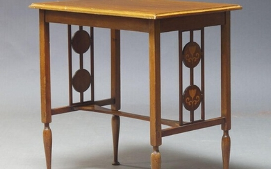 An Edwardian mahogany and inlaid side table, the rectangular top on square section supports, with pierced and floral inlaid panelled sides, on tapered feet, 65cm high, 63cm wide, 42cm deep