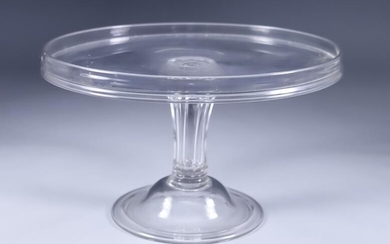 An English Glass Tazza, 18th Century, with hollow wrythen...
