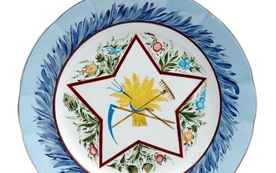 An early 20th Century Russian plate, hand painted with a scy...