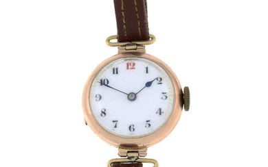 An early 20th century gold wrist watch, with replacement strap.