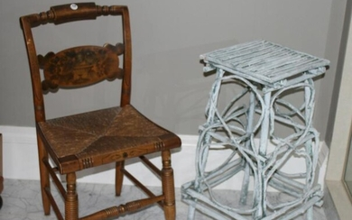 Antique Rush Seat Chair and Decorative Twig Stand