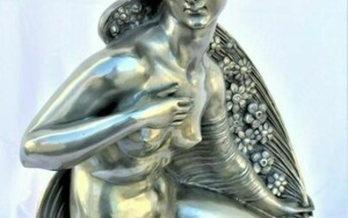 Art Deco Nude Sculpture Girl with, Silvered cape