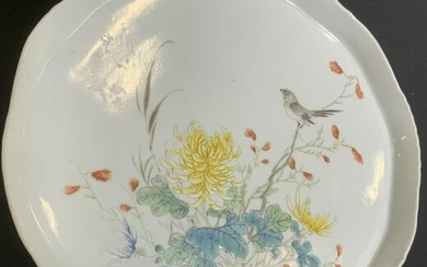 Asian Porcelain Yellow Famille Rose Serving Plate