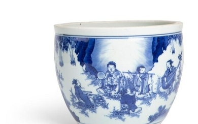 BLUE AND WHITE 'SEVEN SAGES OF THE BAMBOO GROVE' BASIN