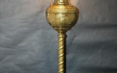 Brass embossed converted oil lamp
