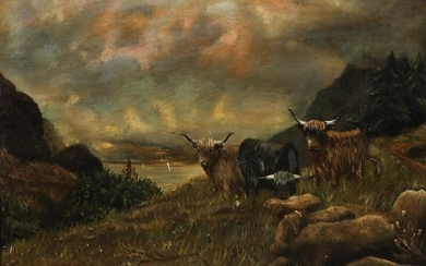 NOT SOLD. British school, early 20th century: Grazing highland cattle. Signed and dated E. Lowes 1911. Oil on canvas. 46 x 61 cm. – Bruun Rasmussen Auctioneers of Fine Art