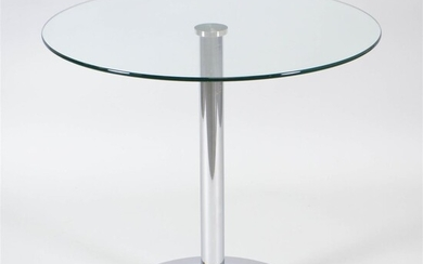 CONTEMPORARY CHROME AND GLASS BREAKFAST TABLE