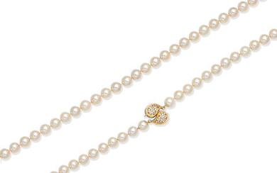 CULTURED PEARL NECKLACE WITH DIAMOND-SET CLASP
