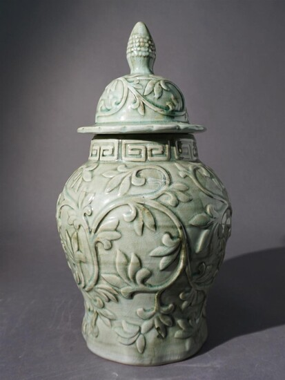 Chinese Celadon Glazed Covered Urn, H: 17-1/2 in