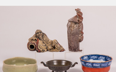 Chinese Ceramic Brass and Carved Soap Stone Decorative Items