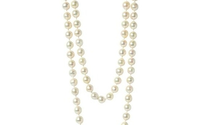 Cultured Pearl, 14k Yellow Gold Necklace.