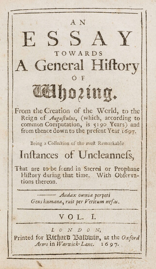 Debauchery.- An Essay towards a general history of whoring..., vol.1 [all published], first edition, 1697.