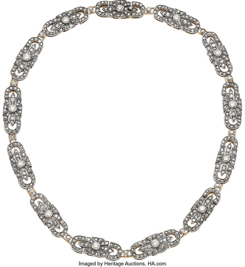 Diamond, Silver-Topped Rose Gold Necklace Stones: Full-cut diamonds weighing...