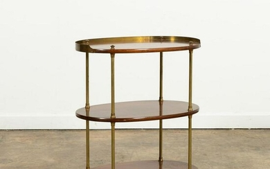 ENGLISH CAMPAIGN STYLE OVAL THREE-TIER TABLE